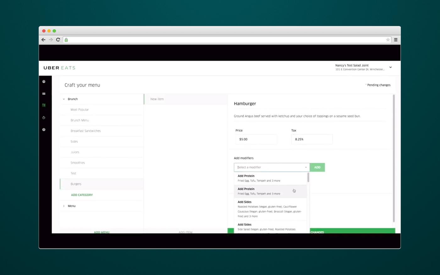 How eateries add menu via UberEats admin panel