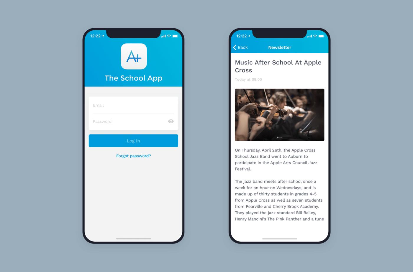 School App mobile interface.