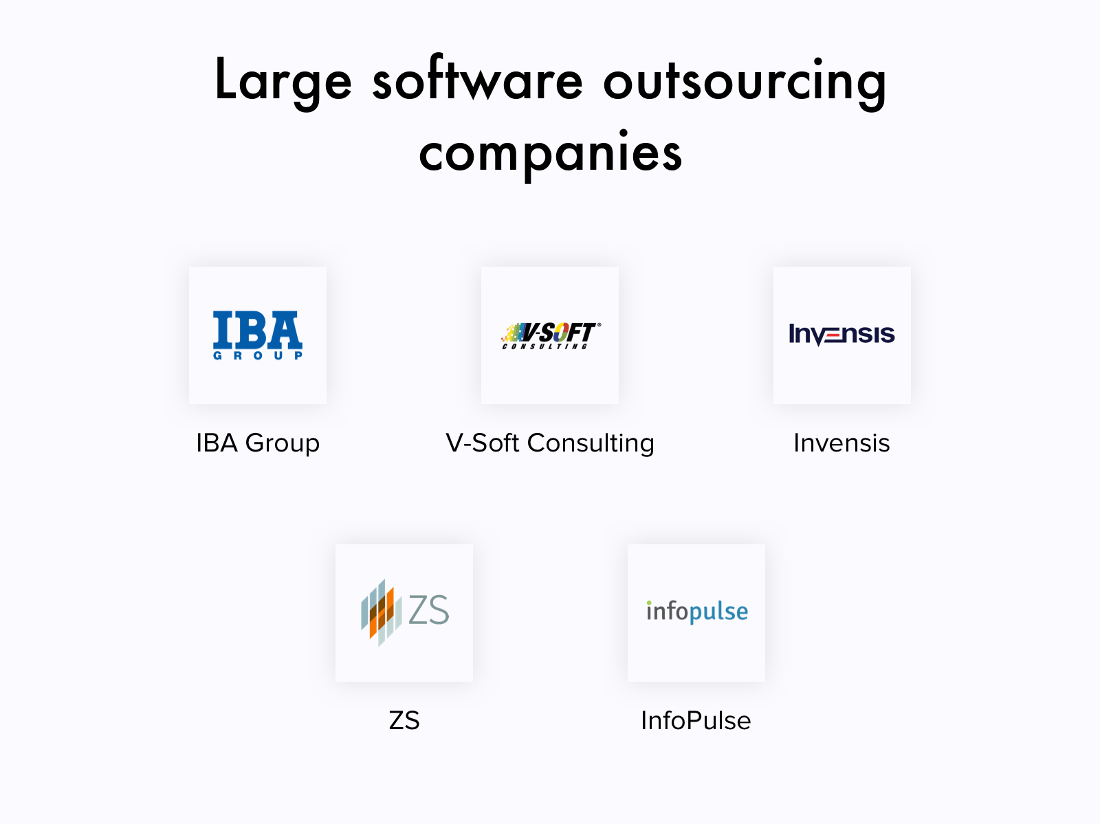 Large outsourcing software development companies