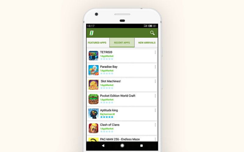 Alternative Google Play store: 1AppMarket