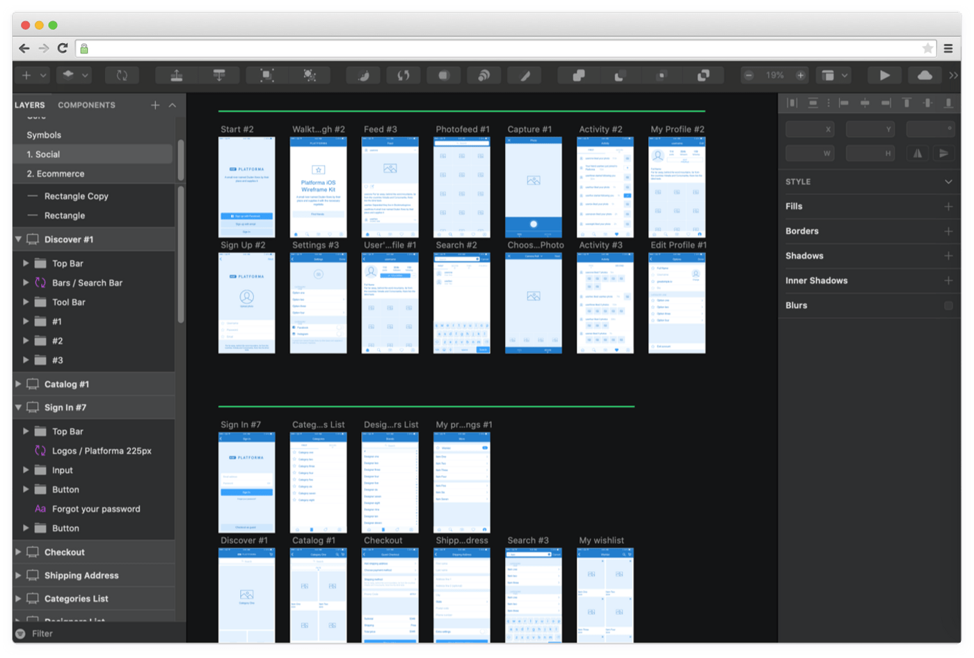 Wireframing with design software