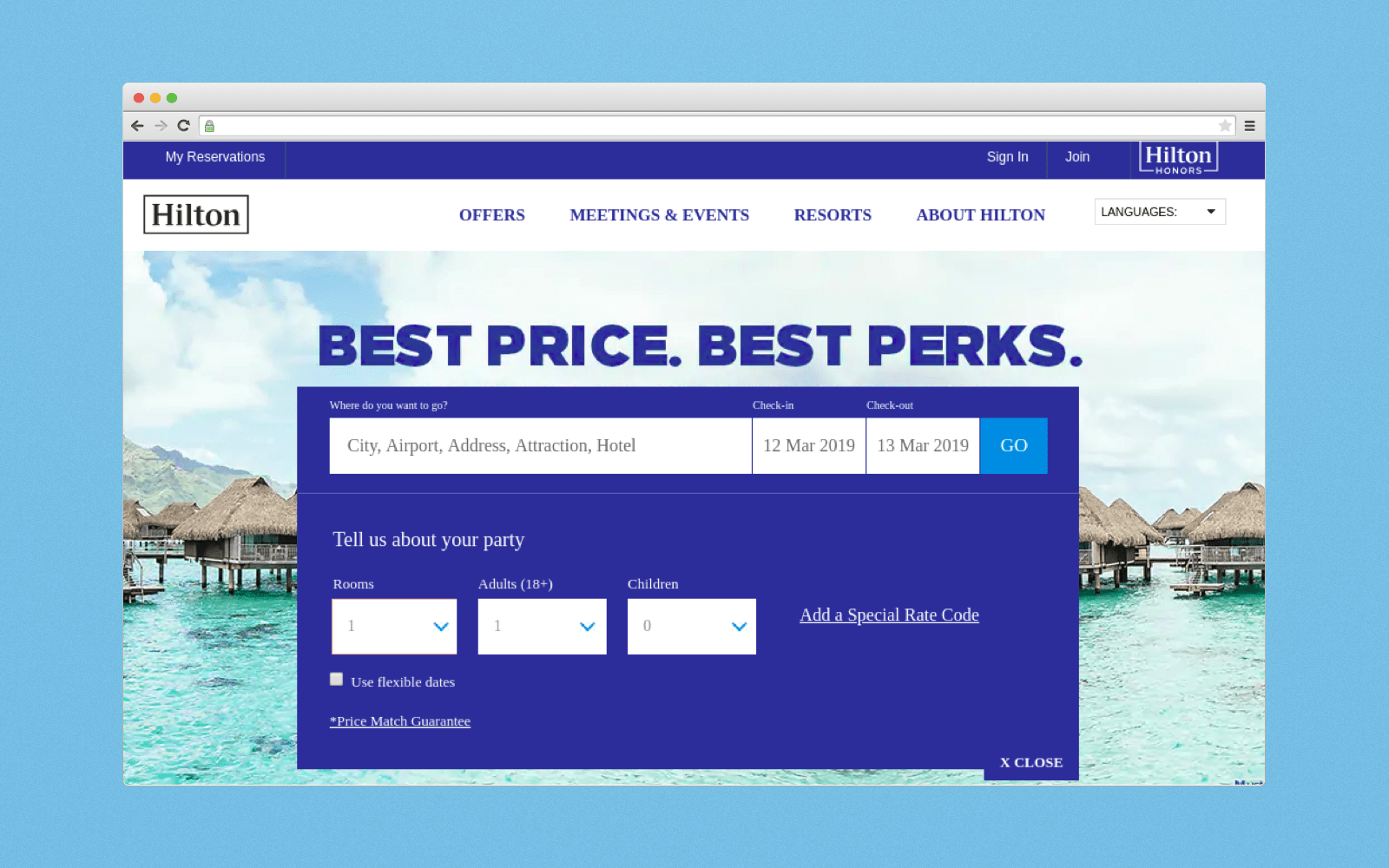 How Hilton Hotel booking page looks like