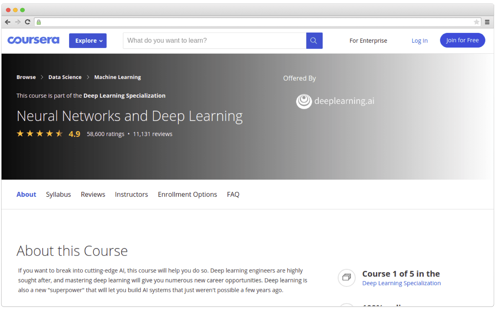 How a course page may look like
