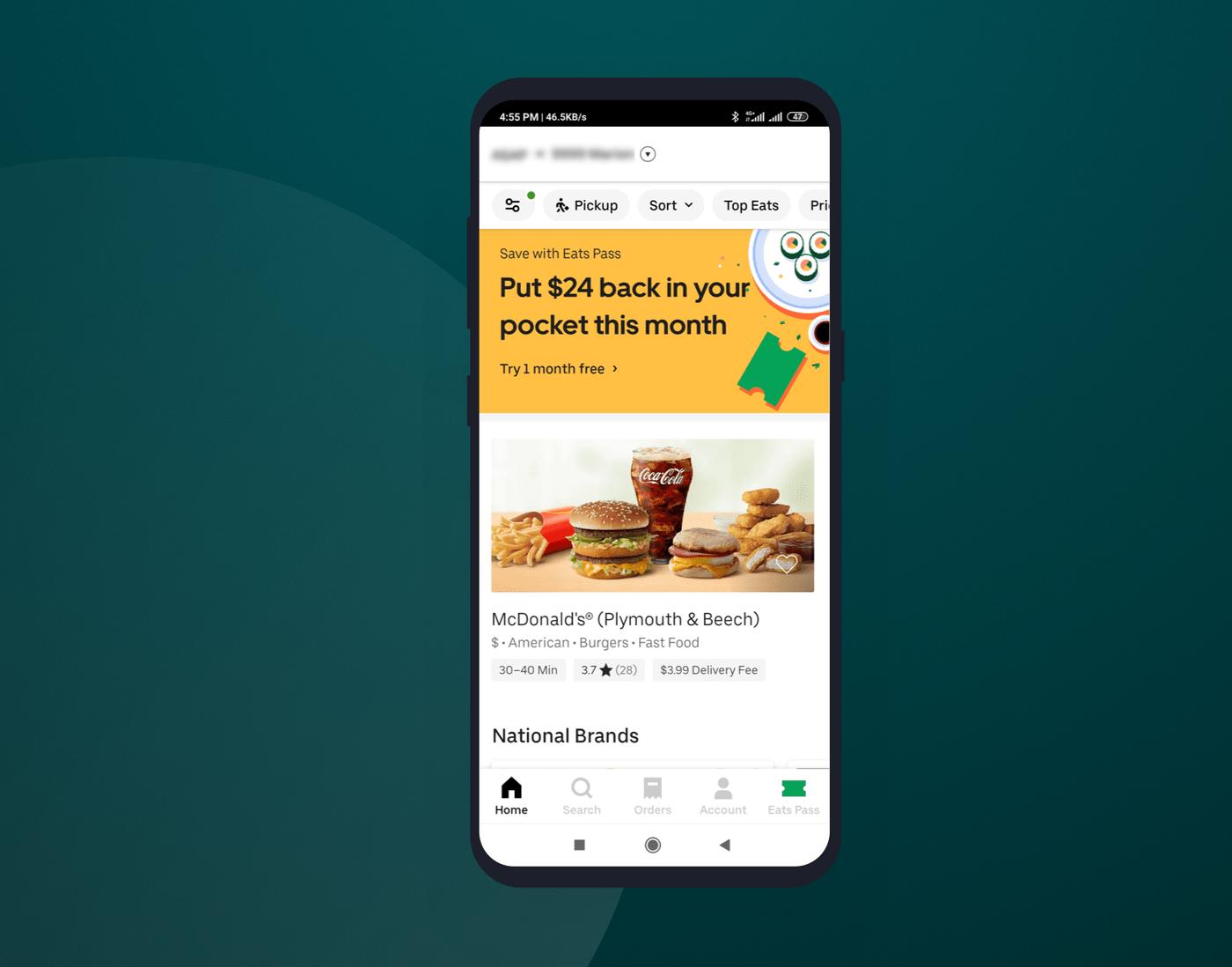 Homescreen of Uber Eats