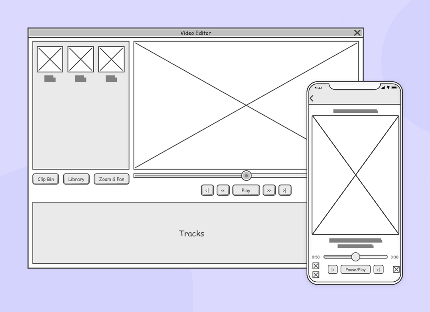 Example of mobile and web wireframes