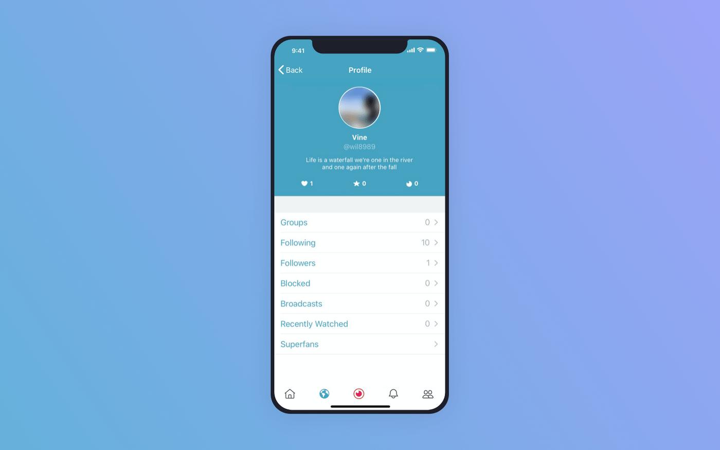 Periscope user profile screen
