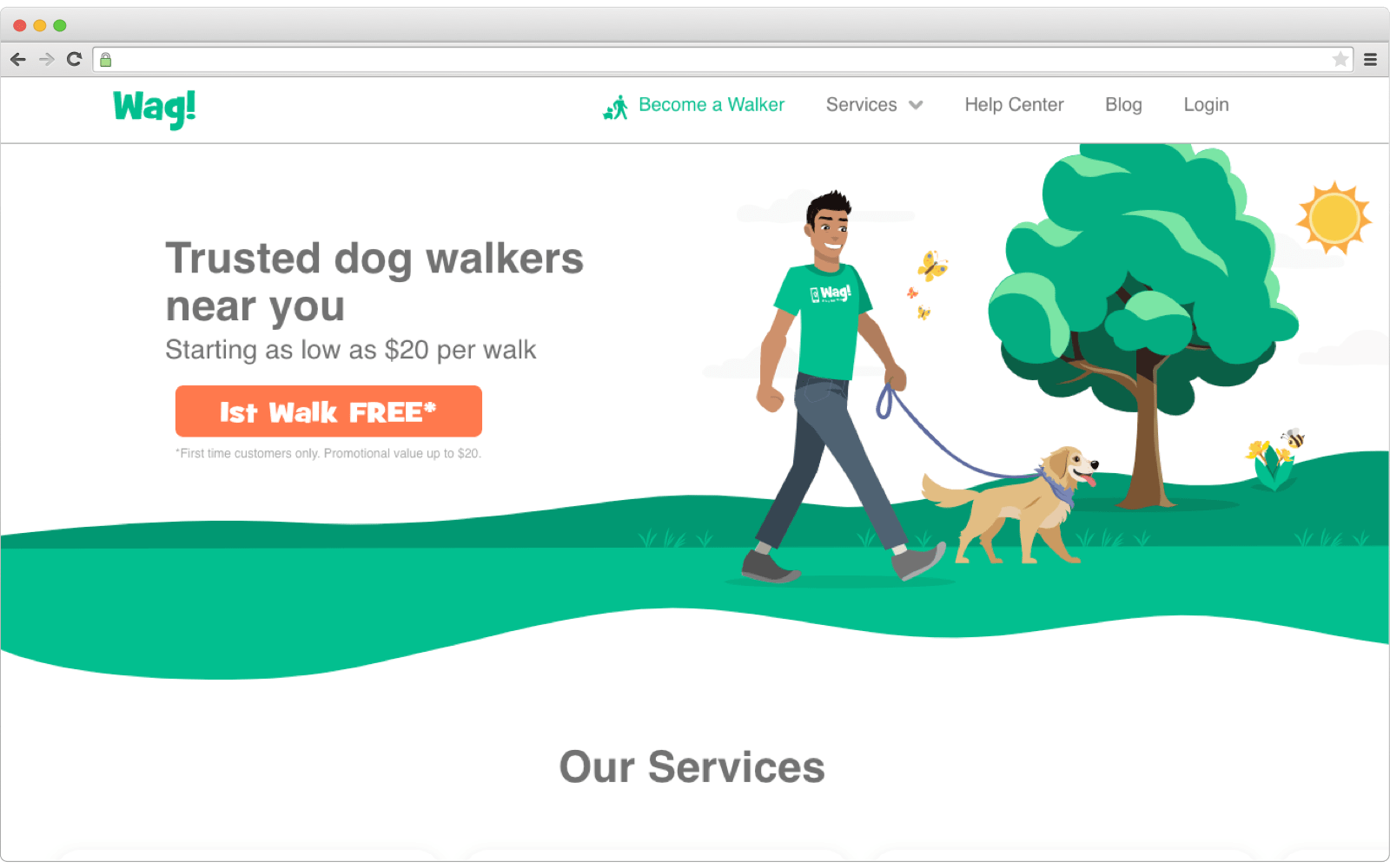 Wag dog walking platform for busy people