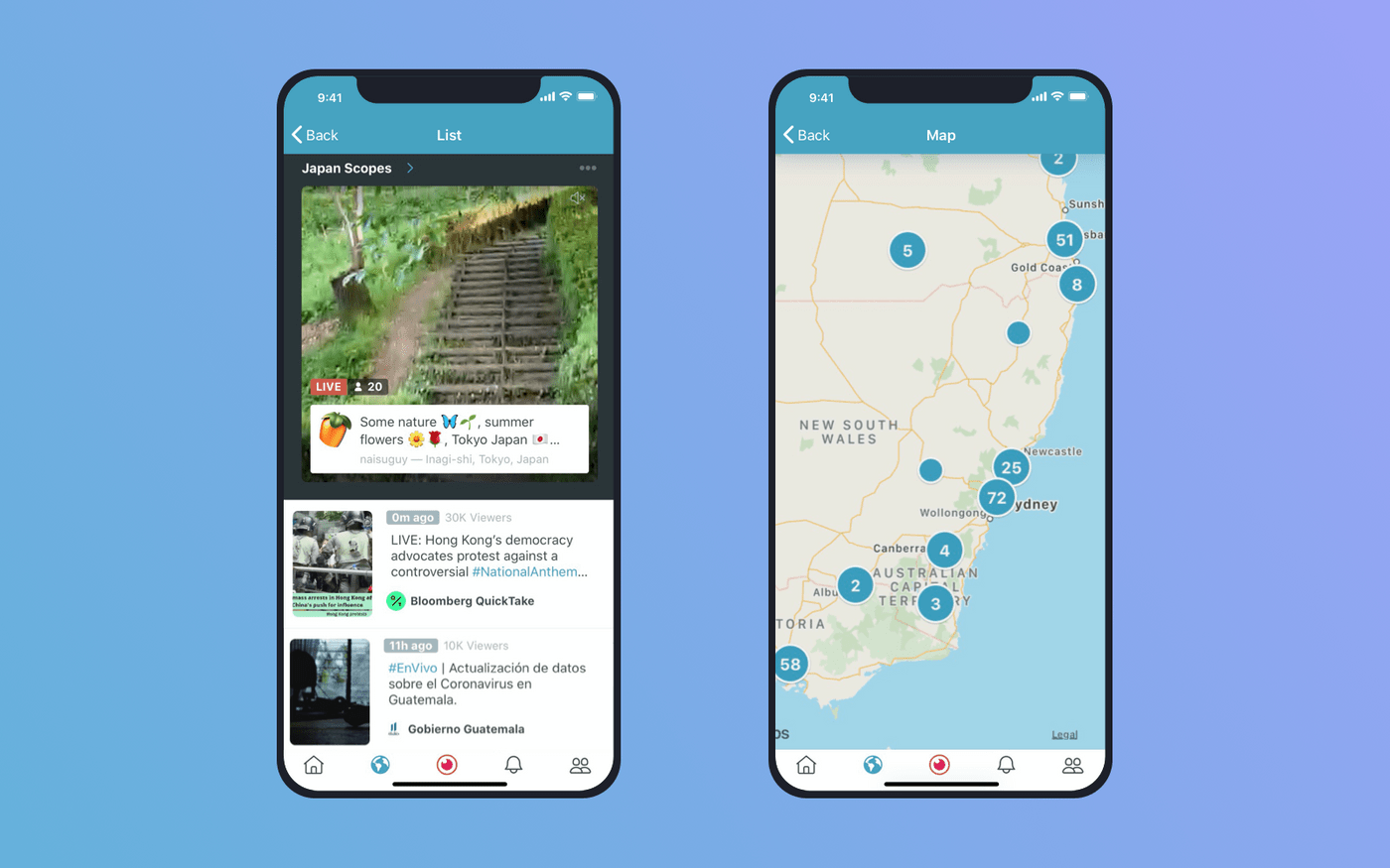 Periscope feed screens using geolocation