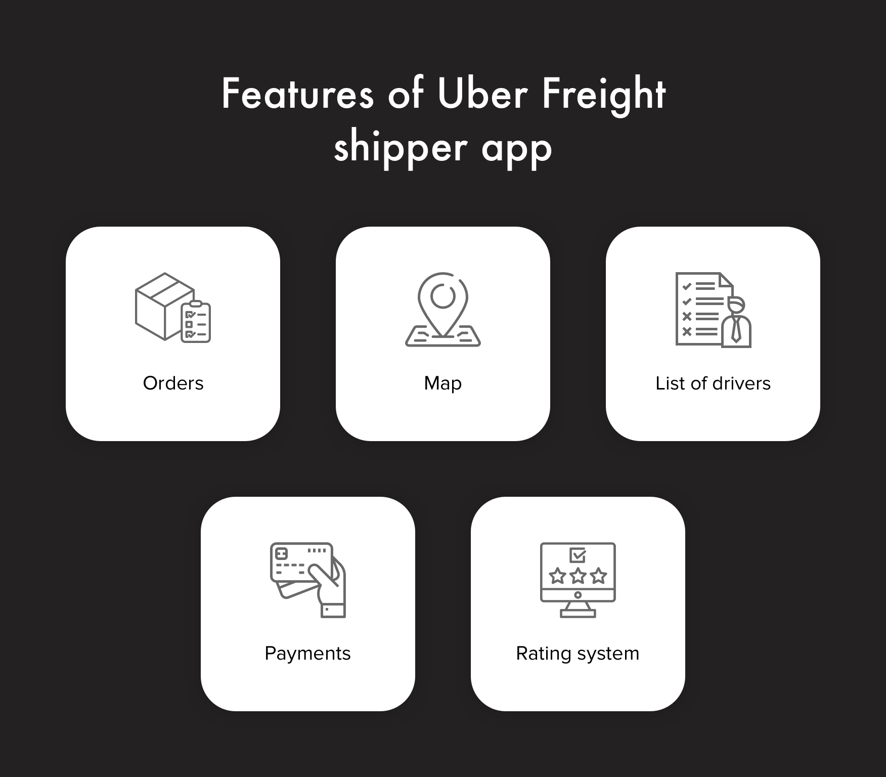 Basic features of Uber for trucking shipper app