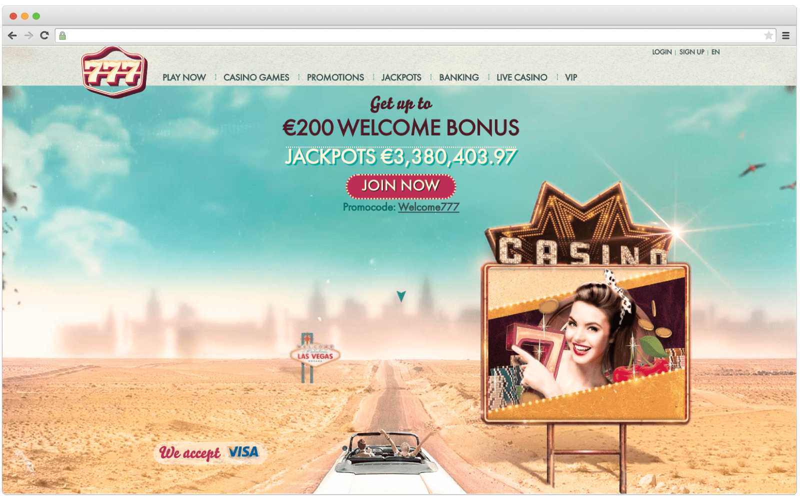 Example of casino website design