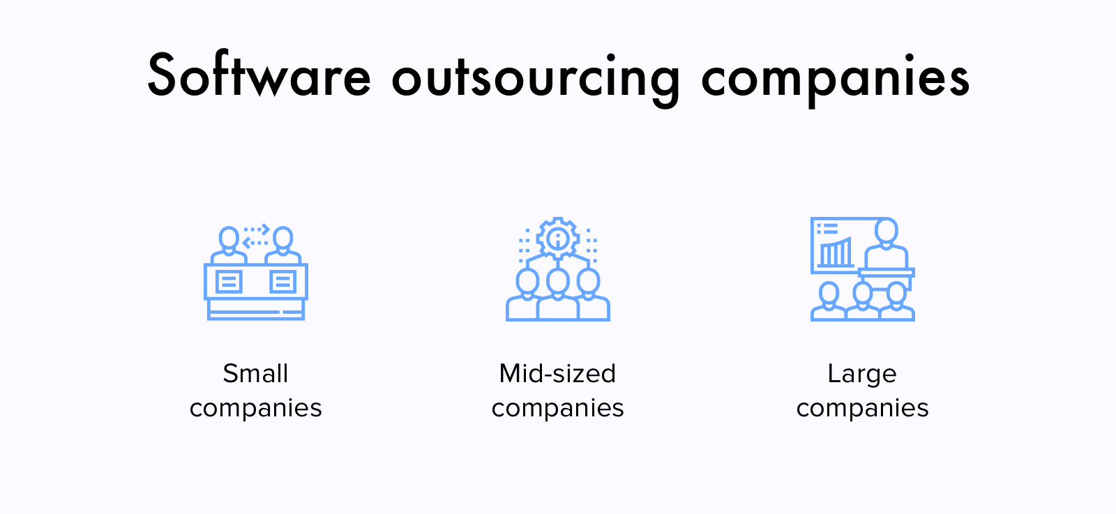 Outsourcing software development companies by size
