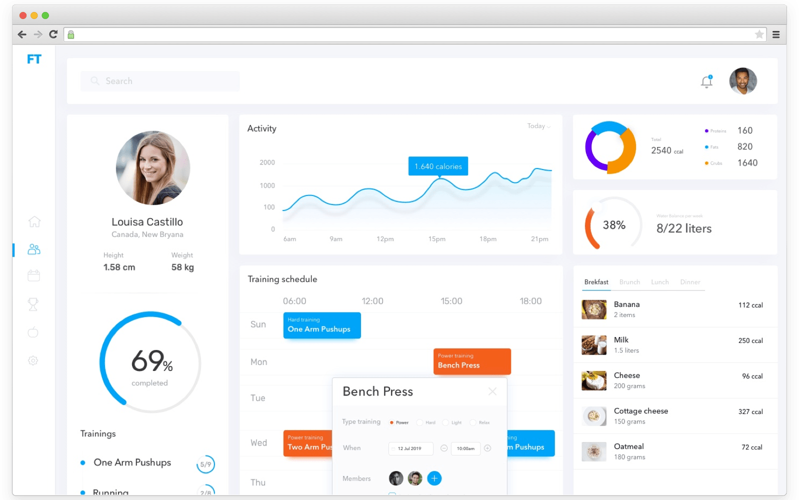 CRM reporting screen concept by Cleveroad