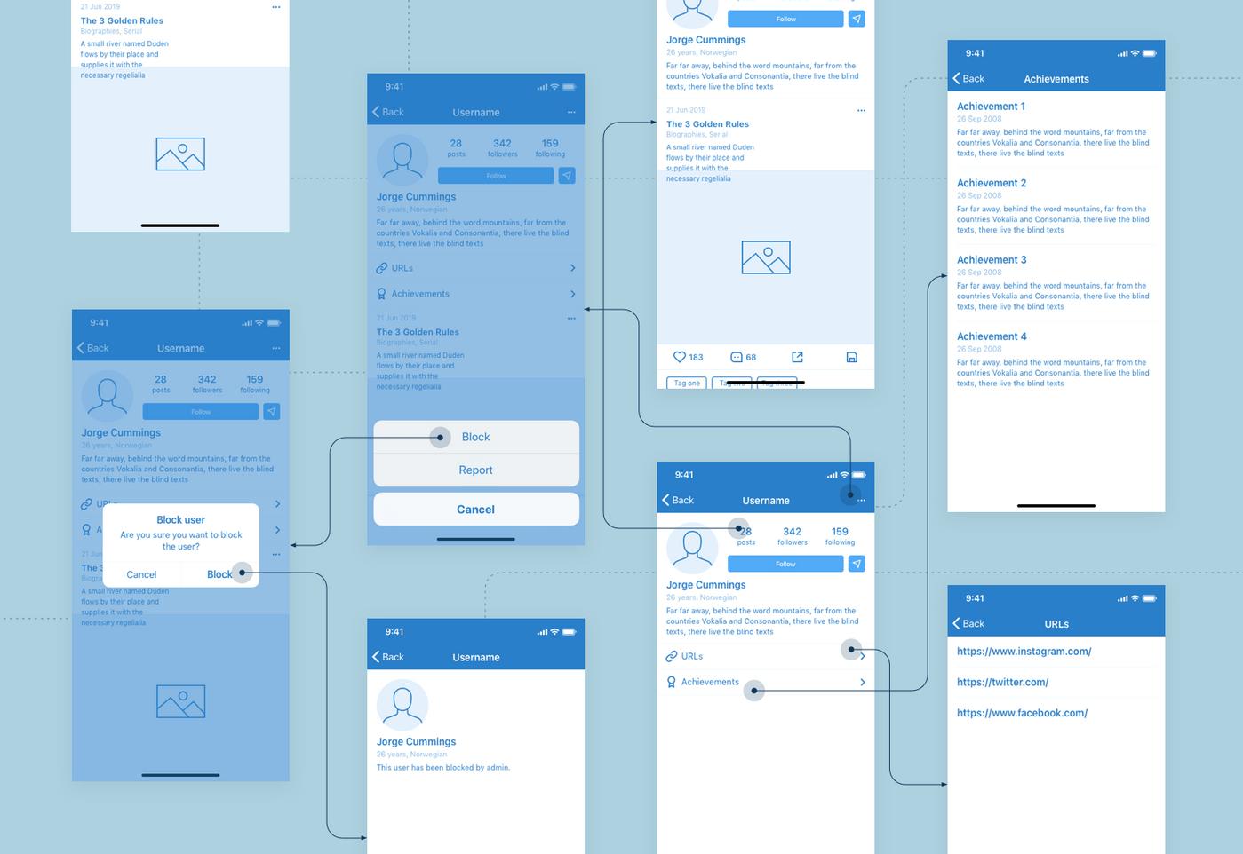 How app wireframes look like