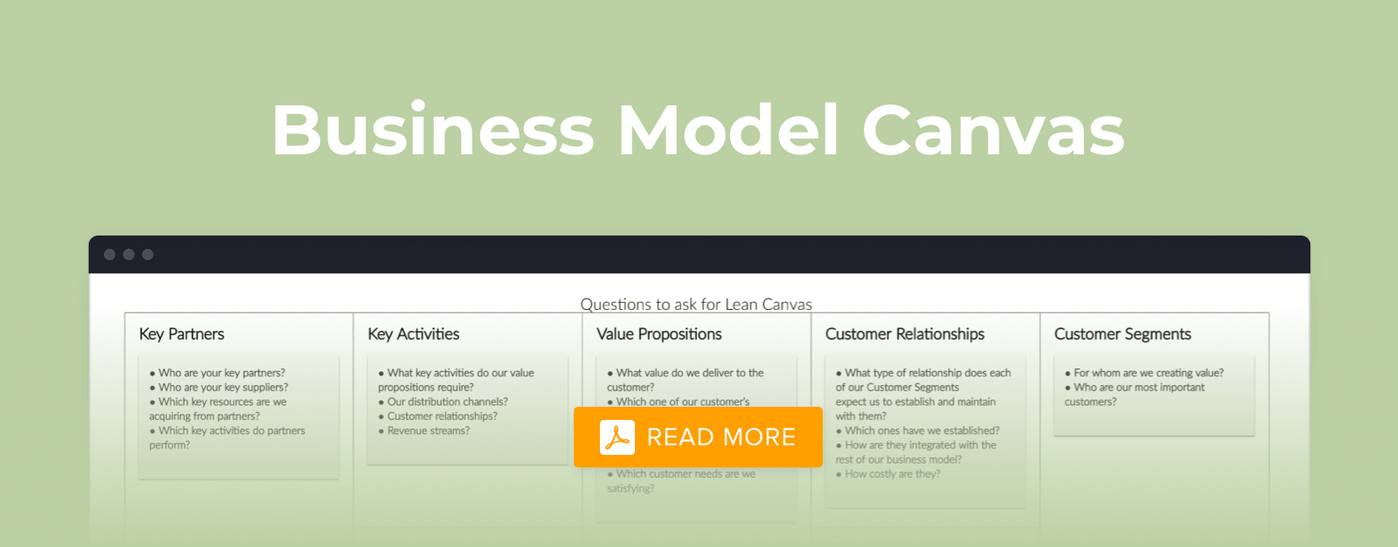 Business Model Canvas for a startup
