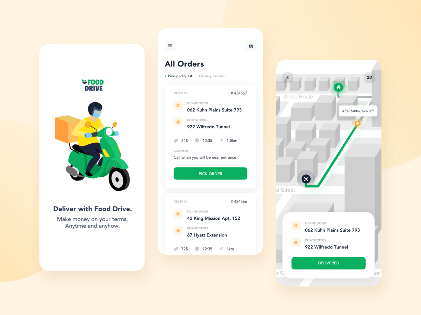 Approximate courier app design