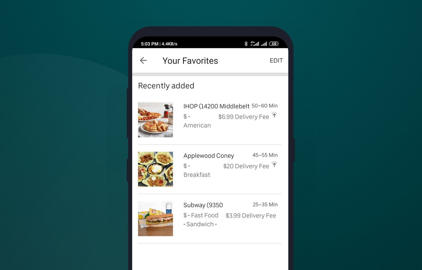How bookmarks look like in Uber Eats