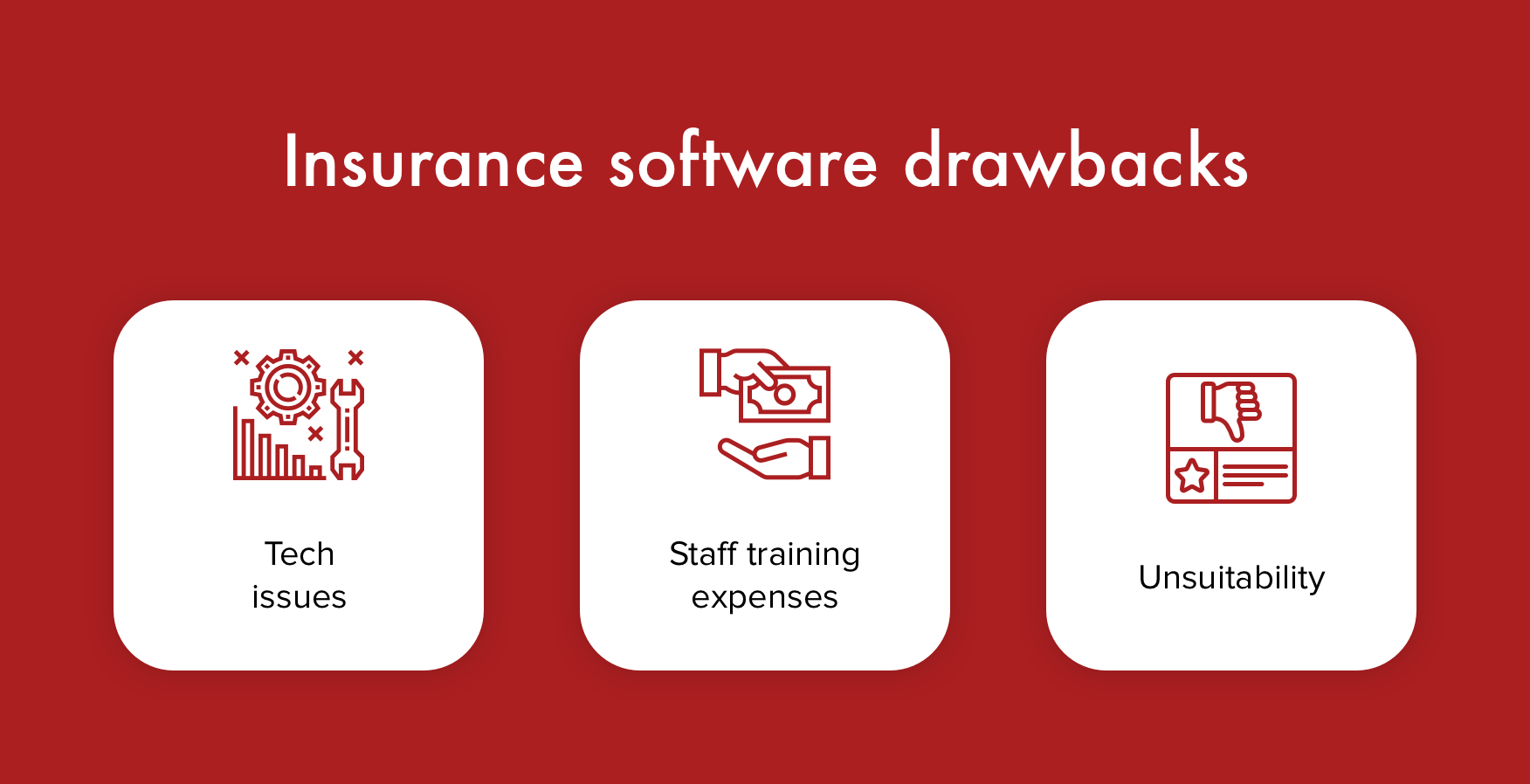 Insurance software drawbacks