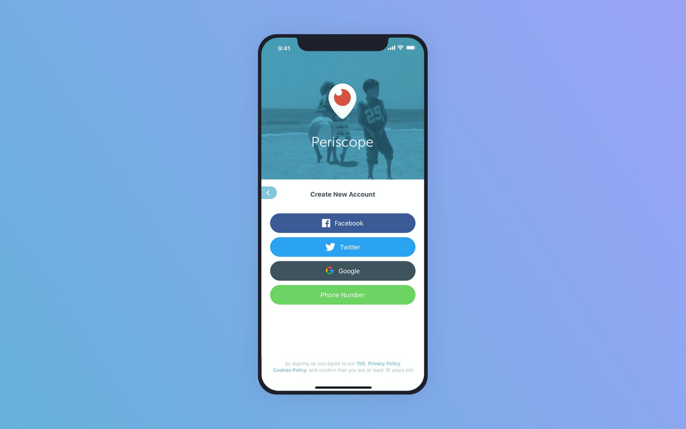 Signup options in Periscope