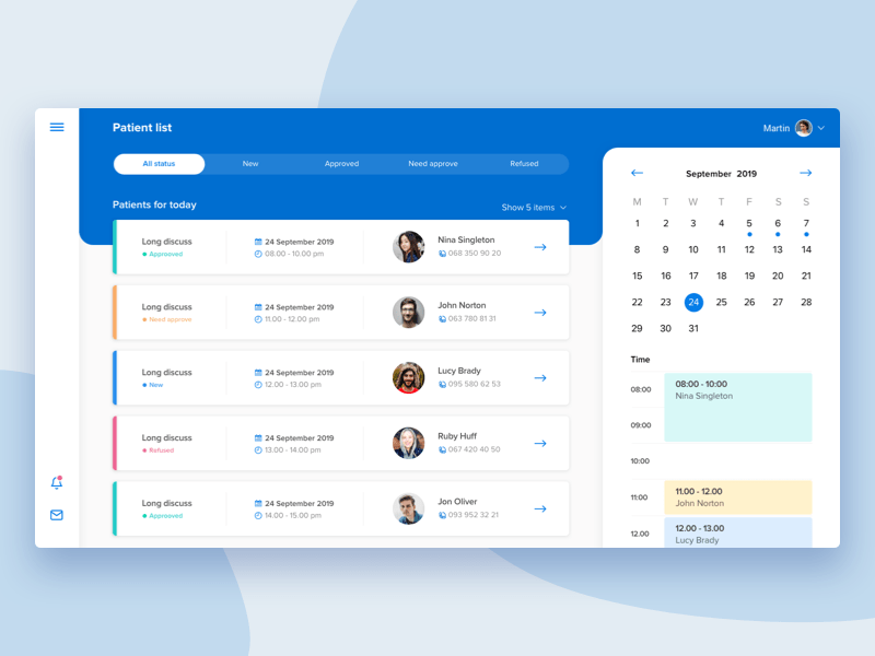UI concept of CRM for doctors by Cleveroad