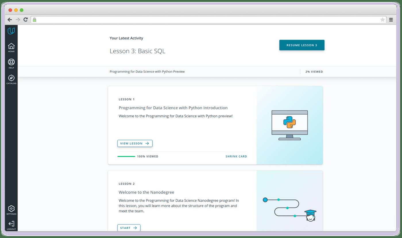 Udacity interface