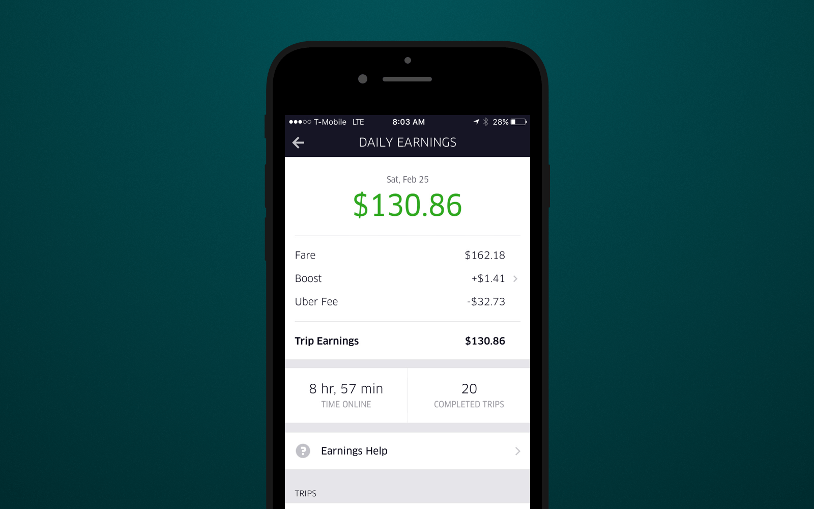 Couriers can see their earnings directly in UberEats app