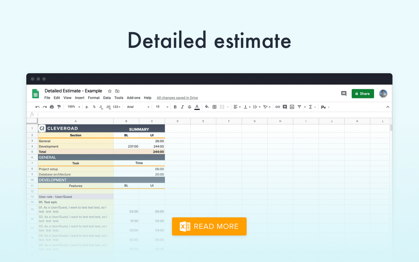 Detailed estimate PDF example by Cleveroad