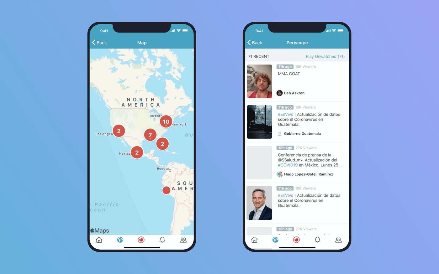 Screens with a list of broadcasts in Periscope