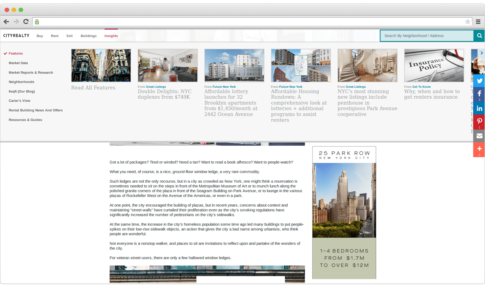 Example of a blog on real estate website