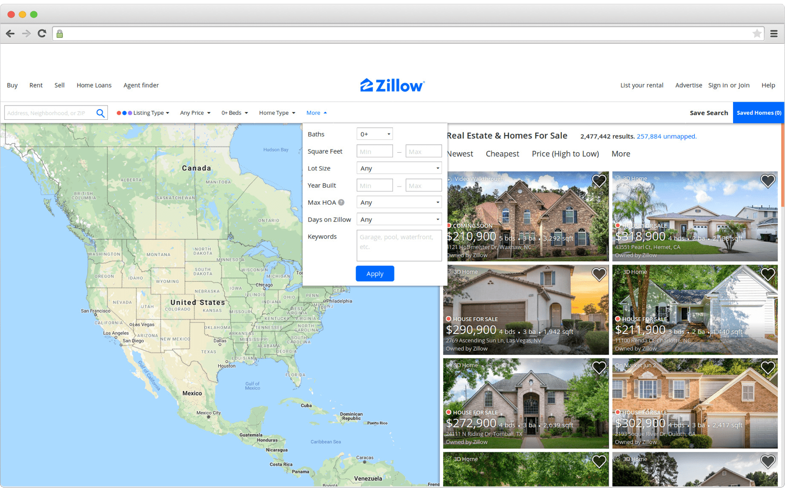 How search by filter may look like on real estate website