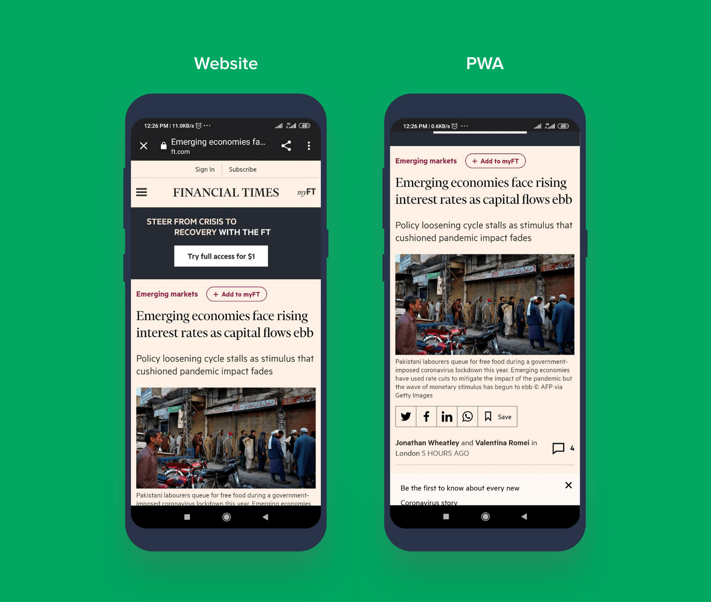 The difference between PWA and website