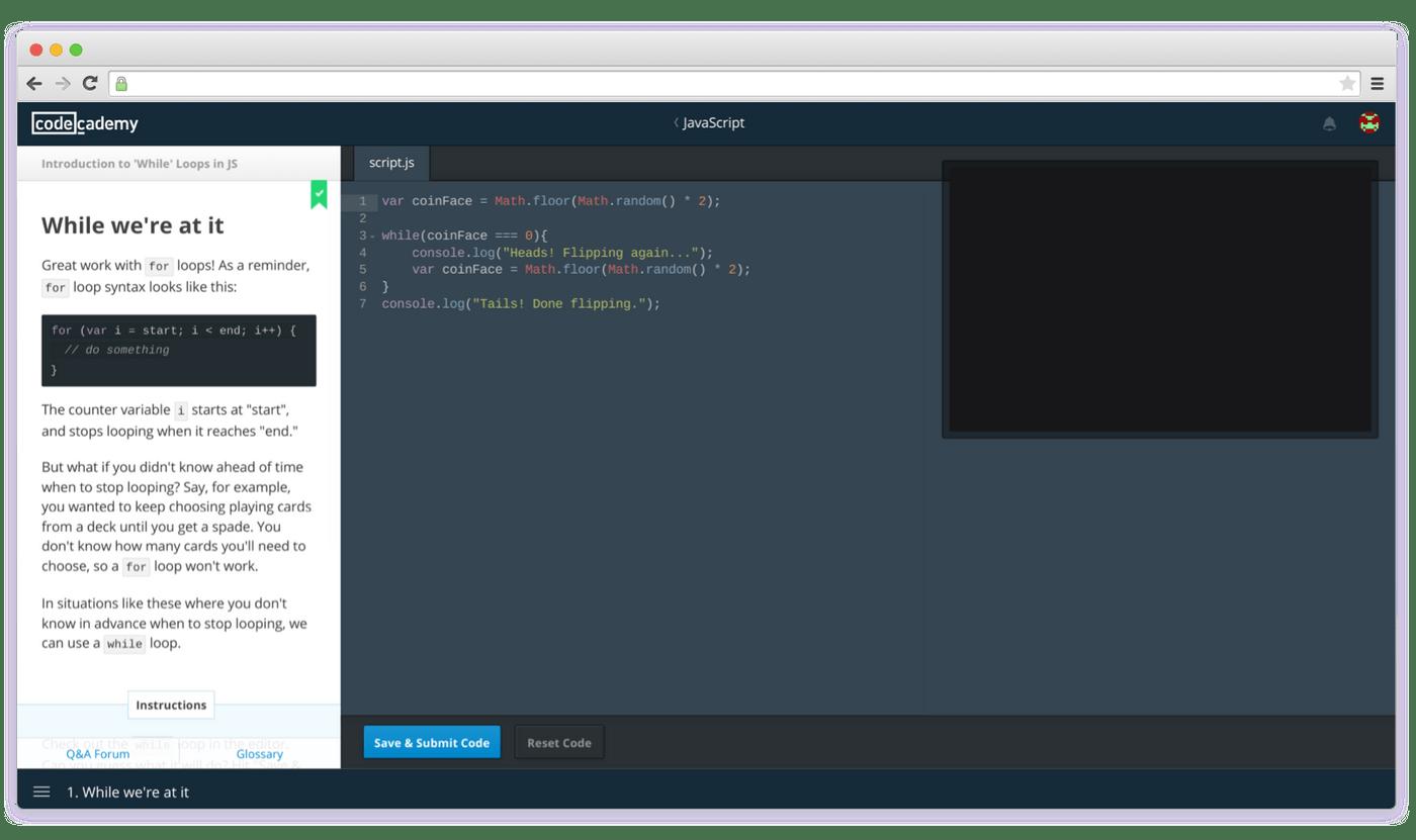Codeacademy interface