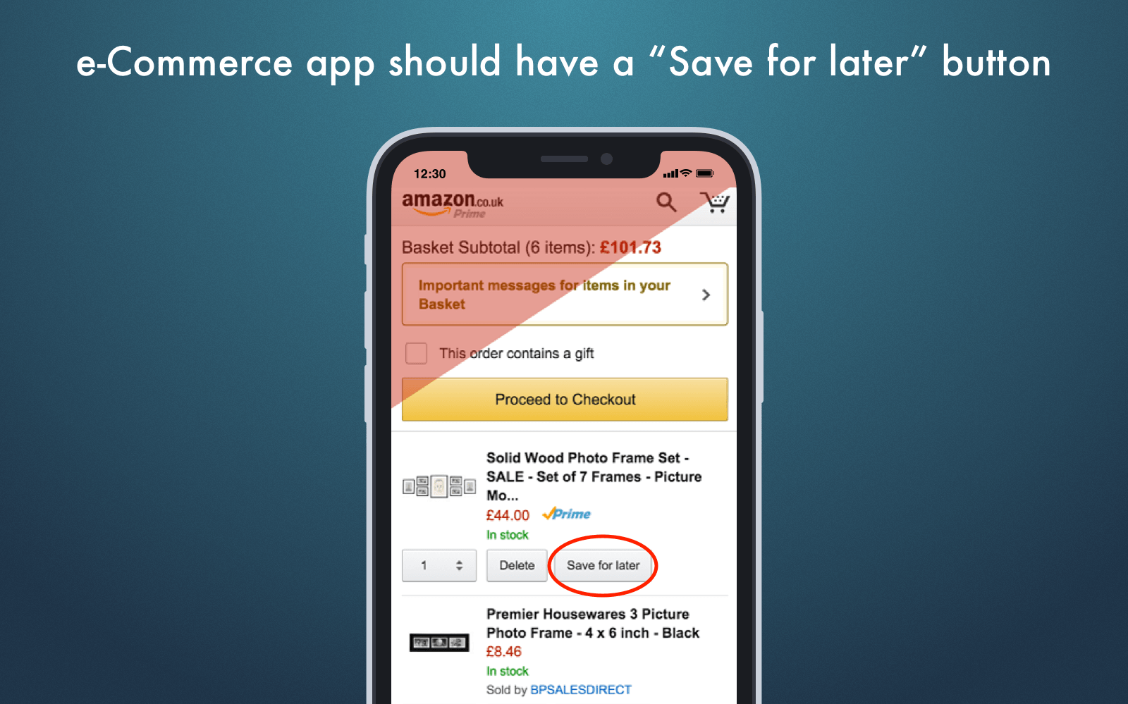 "Best ecommerce mobile app design tips: ""save for later"" button"