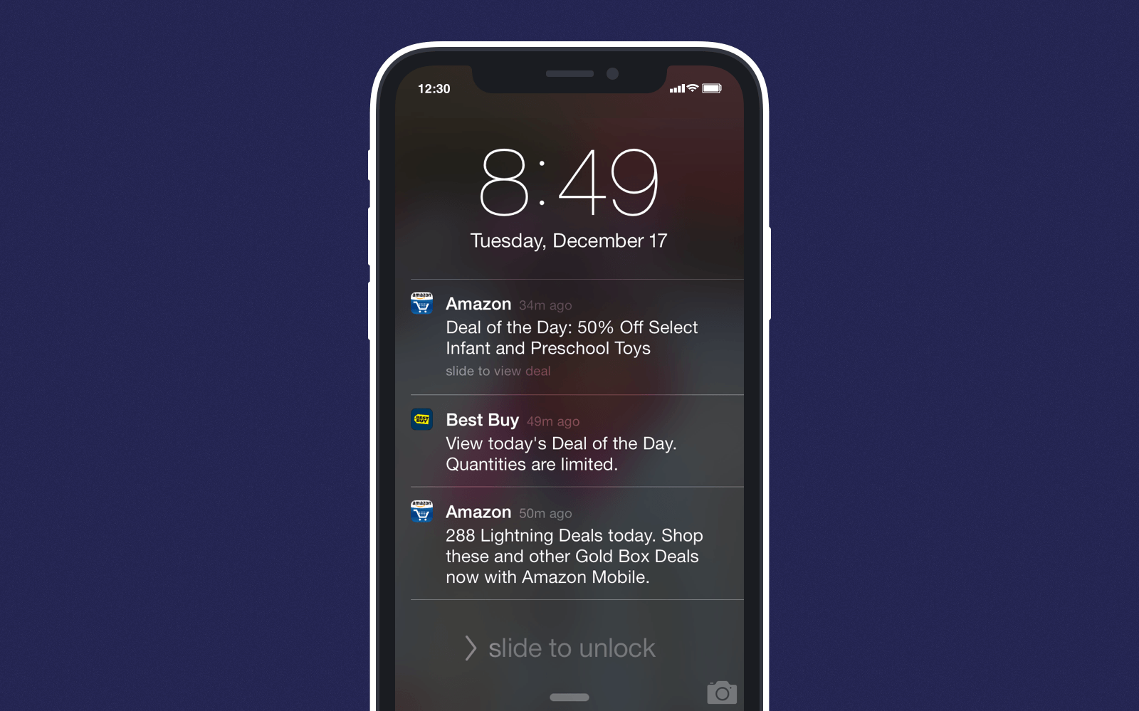 Personalization example of daily push notifications