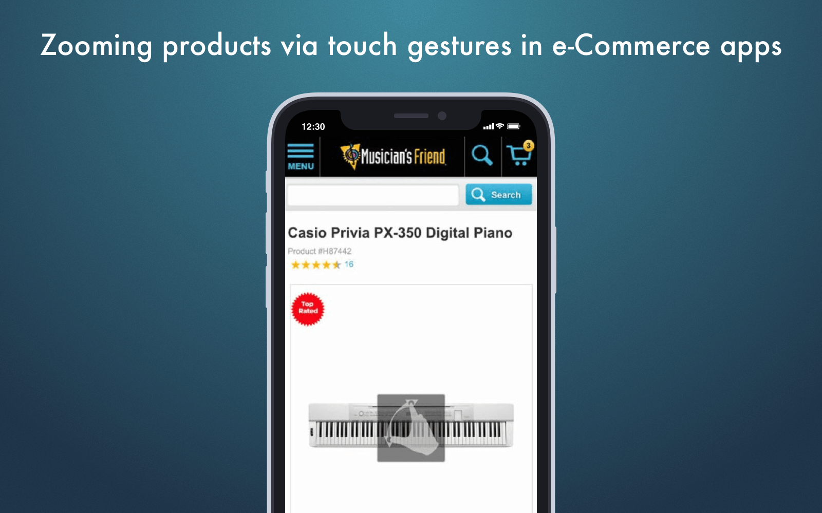 Web design for mobile ecommerce app: zooming via touch gestures