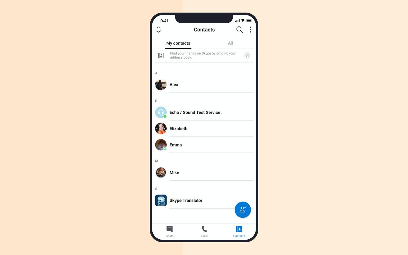 Video chat app development: contact list