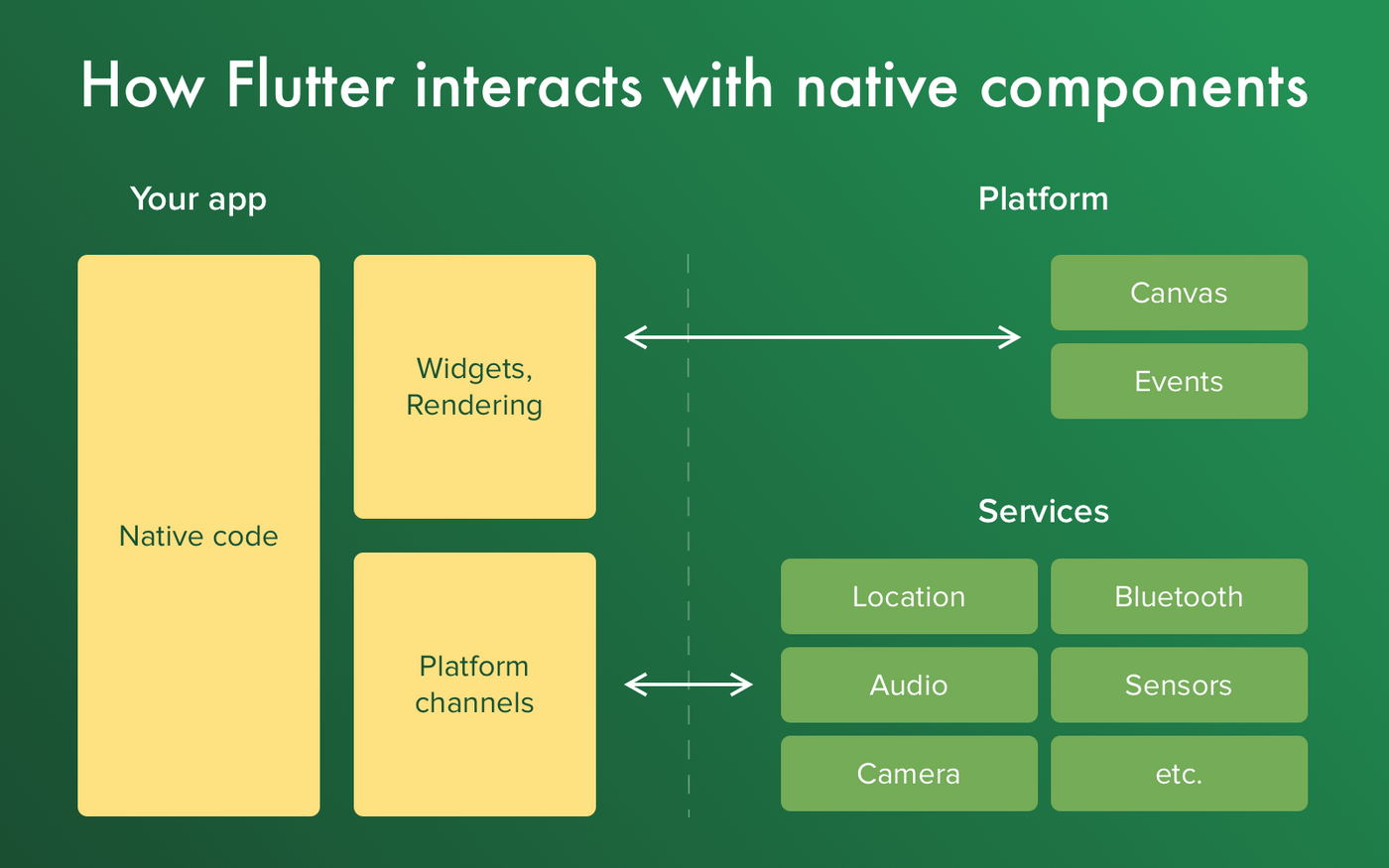 Flutter interacts with native components