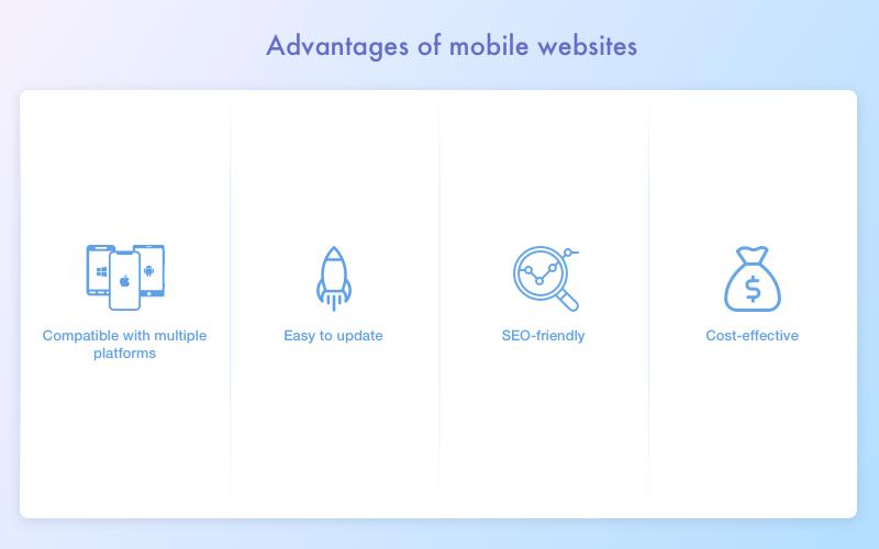 Advantages of mobile website versus mobile app