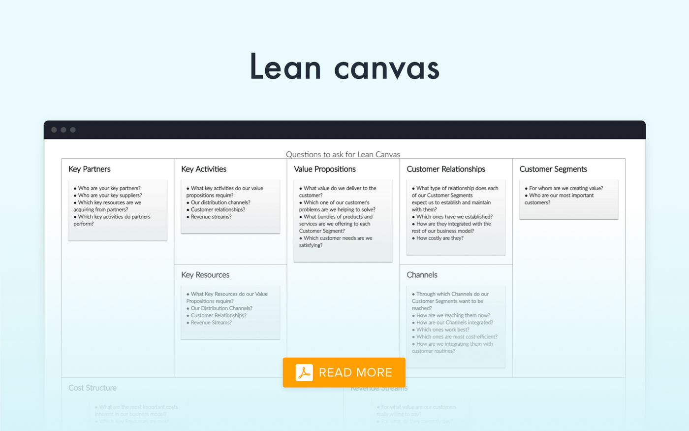 Lean Canvas of Uber-like app PDF example