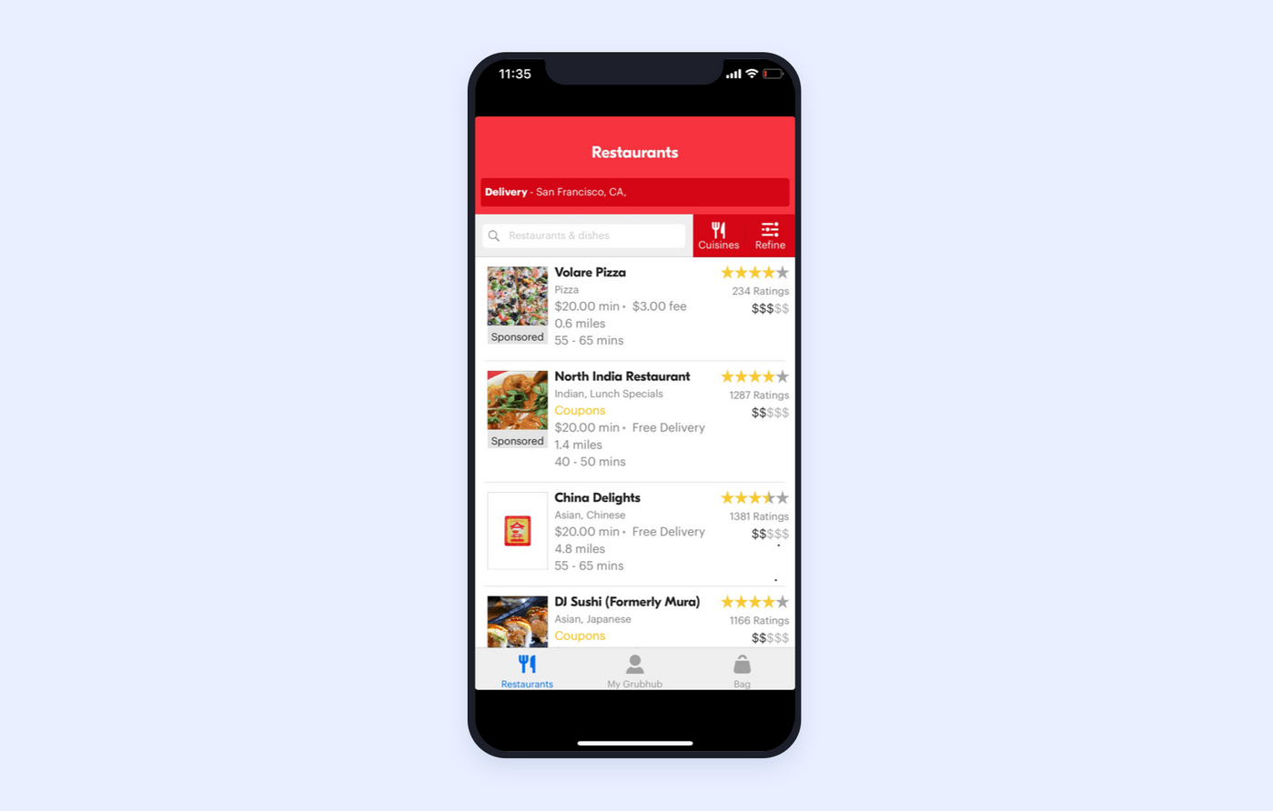 GrubHub restaurant search design