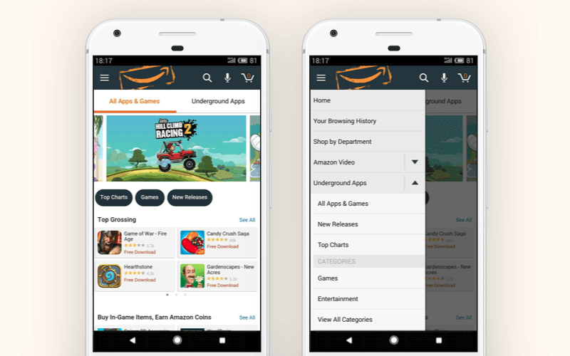 Alternative Google Play store: Amazon