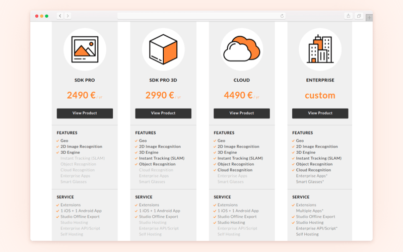 Augmented reality SDK: Wikitude price rates