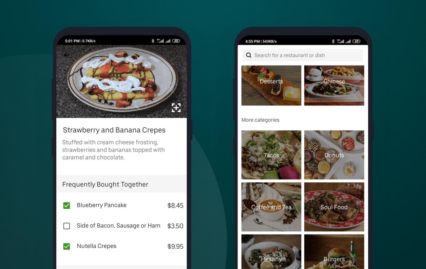 How menu looks like in Uber Eats