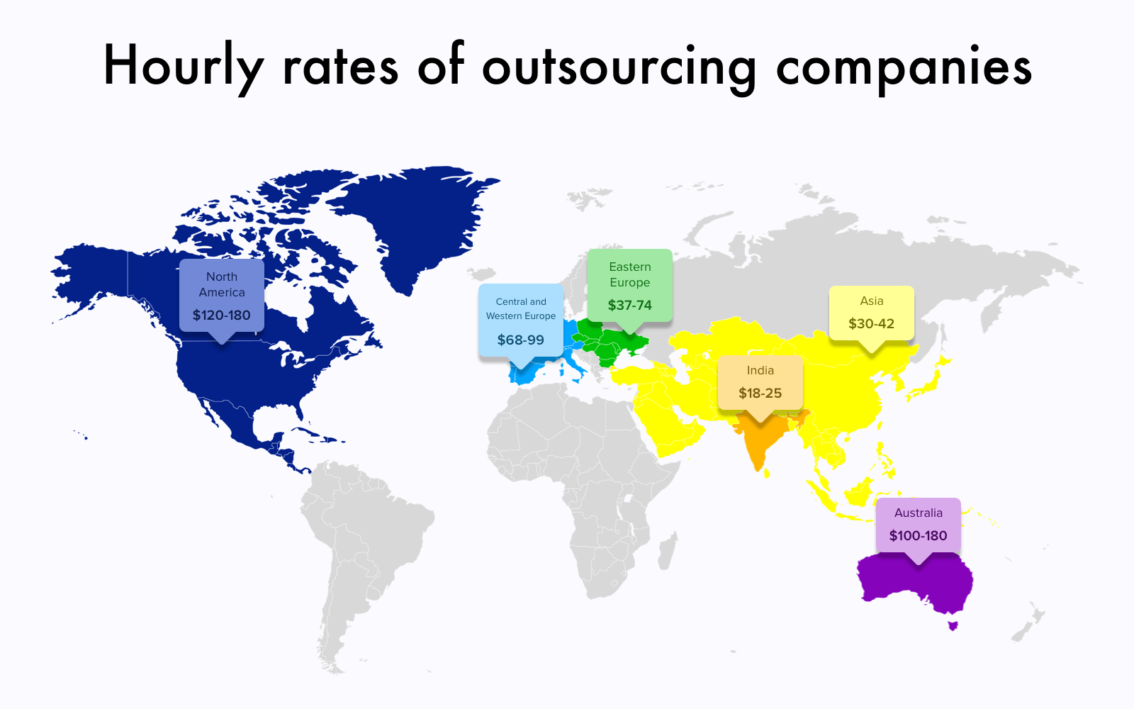 Outsource website development cost worldwide