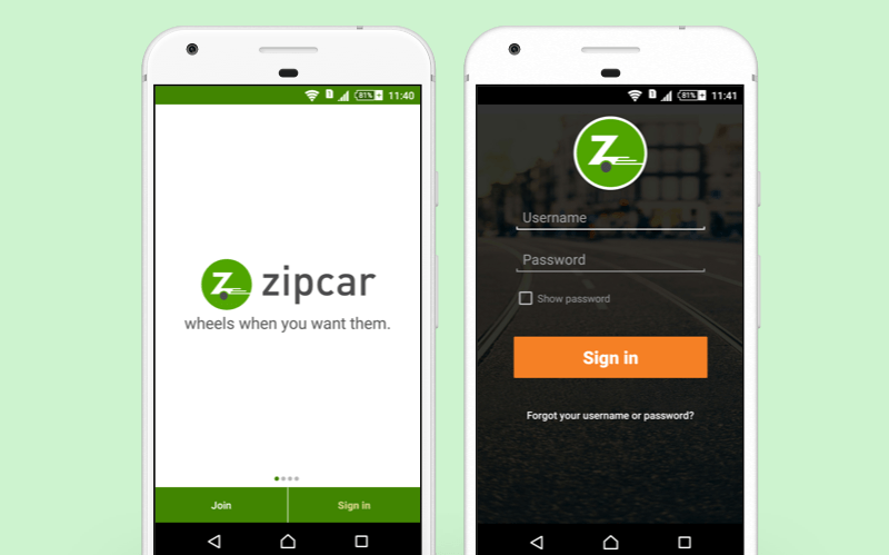 local car rental app - Zipcar