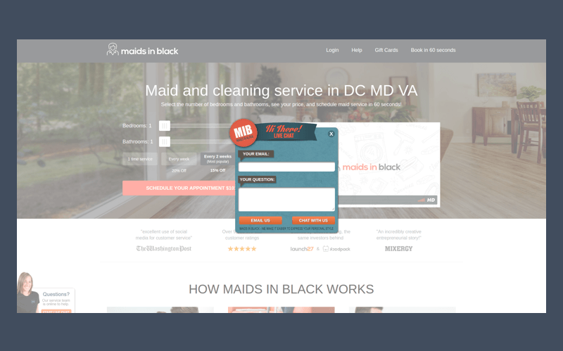 Live chat for business: Maids In Black example