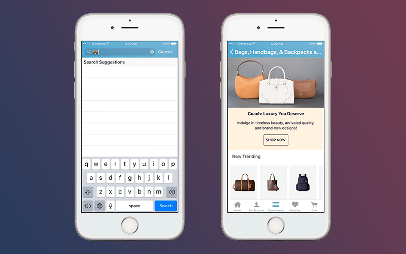 Retail mobile app: Advanced search