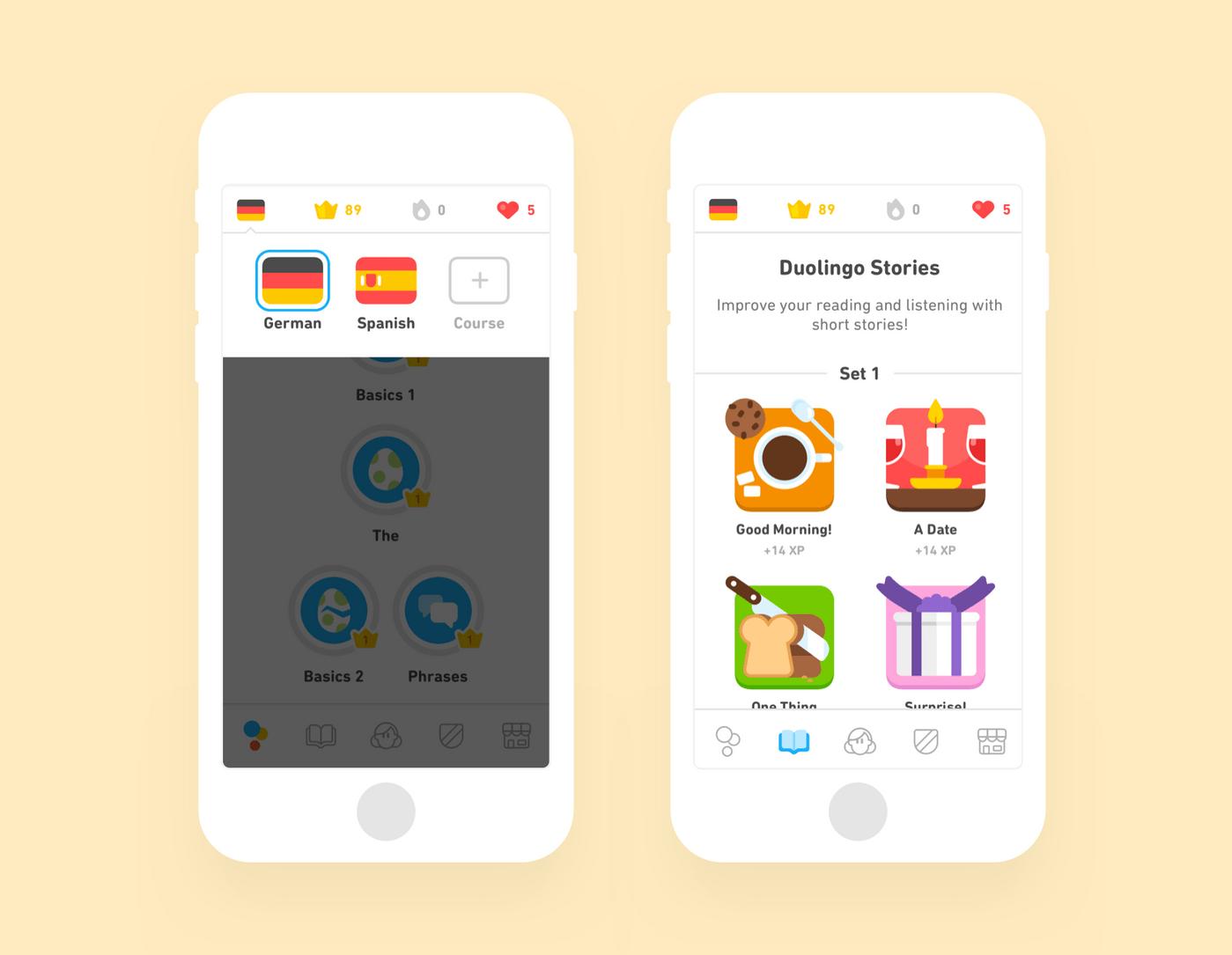 Duolingo course screens