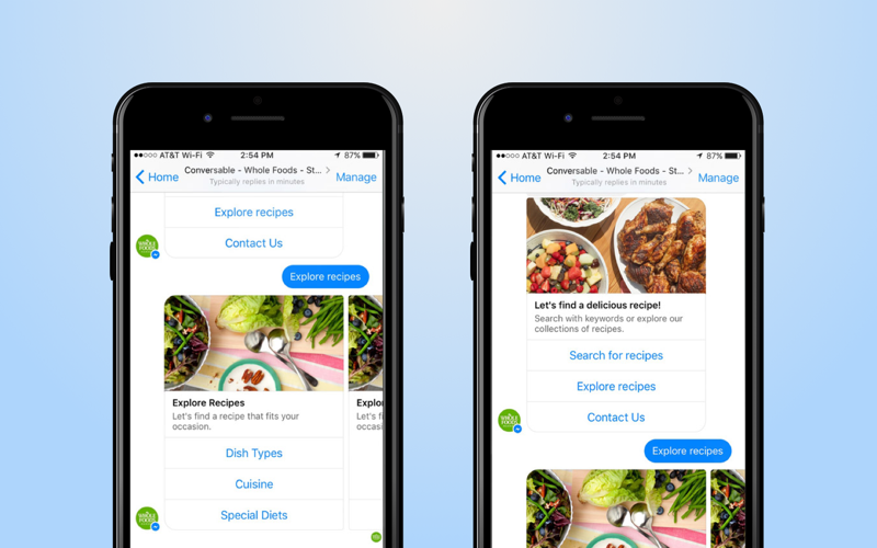 chatbot in a cooking app