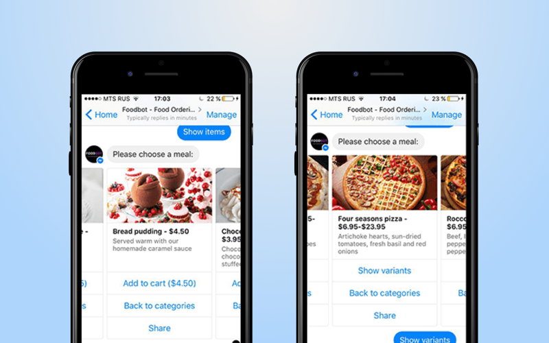 Chatbot in a retail app