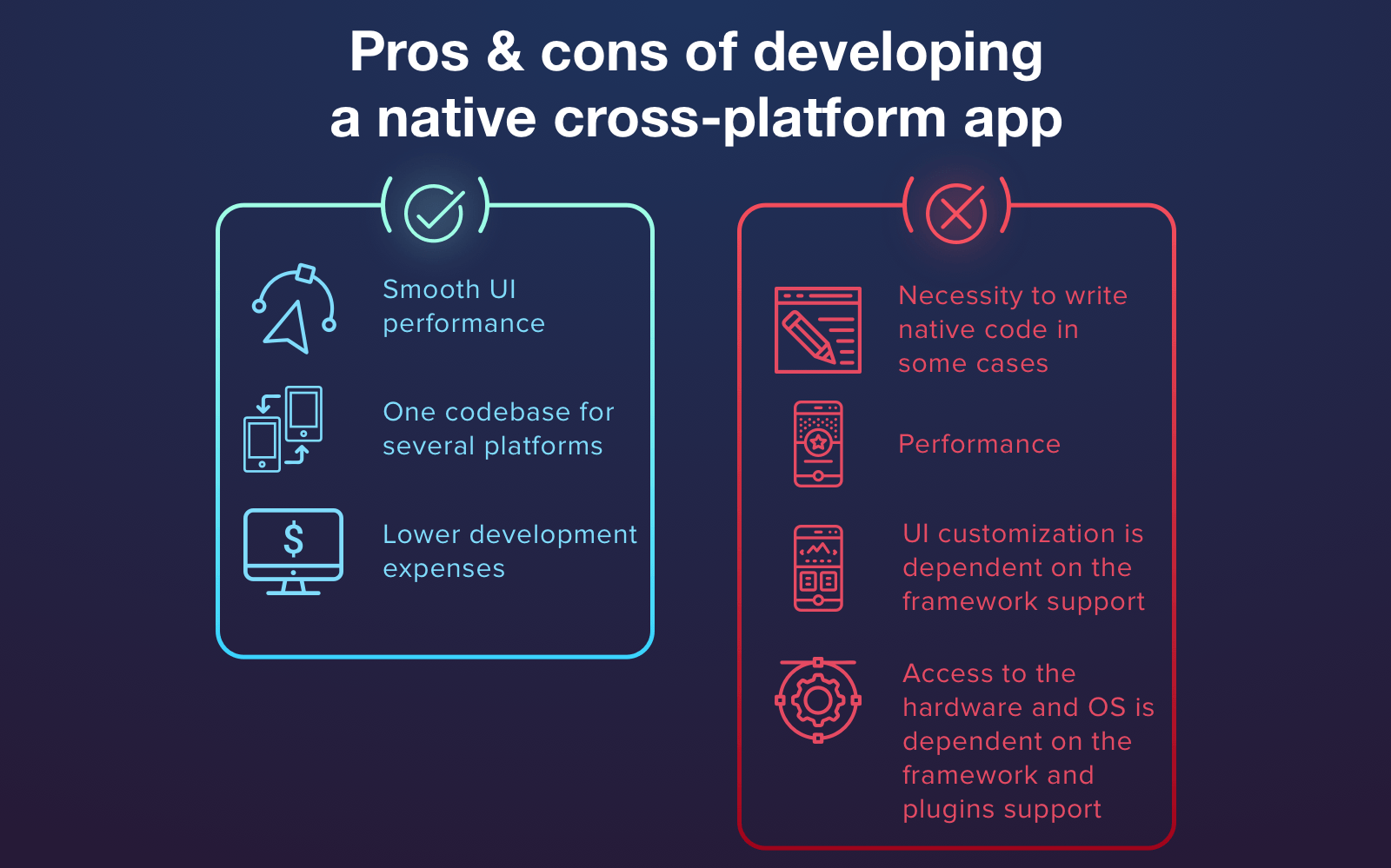 Advantages and disadvantages of cross-platform approach & mobile app stack for it